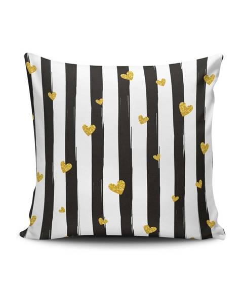 Cushion Love Čierno-biela obliečka na vankúš Calento Hennero, 45×45 cm