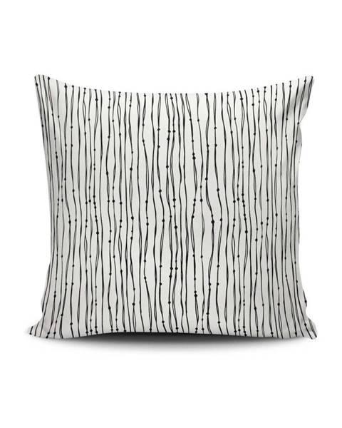 Cushion Love Čierno-biela obliečka na vankúš Calento Julo, 45×45 cm