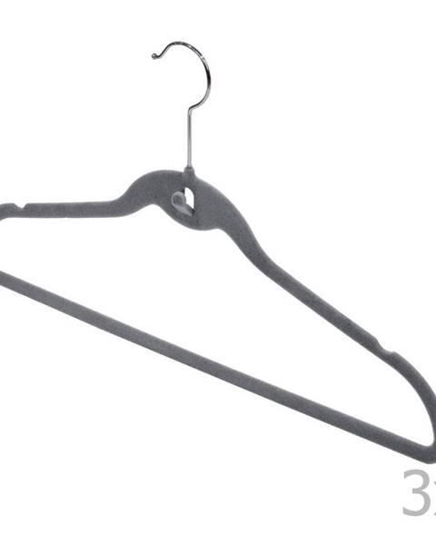 Domopak Sada 3 sivých vešiakov so zárezmi a nohavicovou tyčou Domopak Velvet