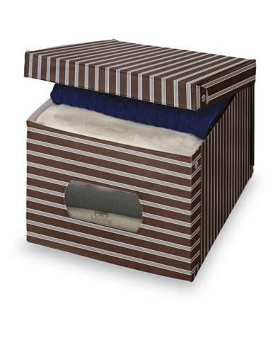 Hnedo-sivý úložný box Domopak Living, 31×50cm