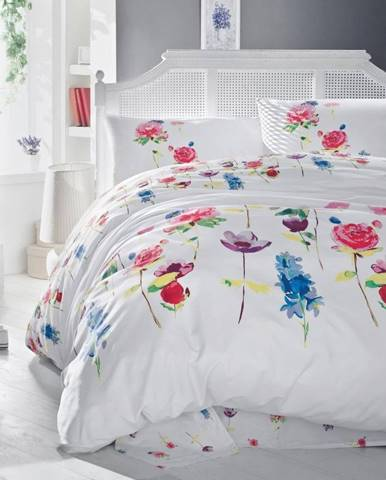 Bavlnené obliečky na dvojlôžko s plachtou a 2 obliečkami na vankúše Spring, 200×220cm