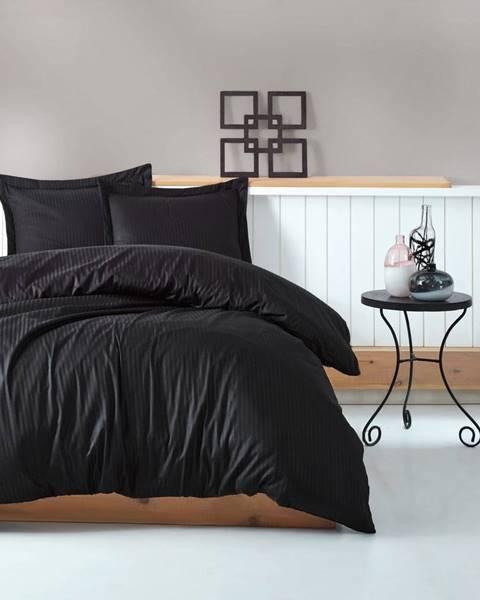 Cotton Box Čierne obliečky s plachtou na dvojlôžko Stripe, 200×220 cm