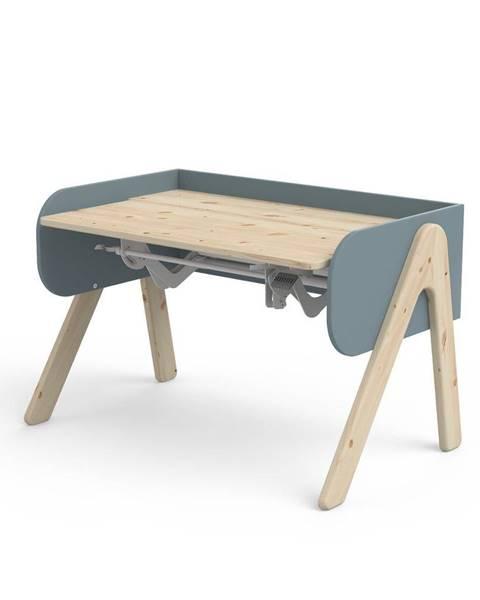 Flexa Modro-hnedý písací stôl z borovicového dreva s nastaviteľnou výškou Flexa Woody