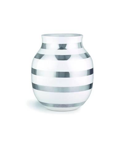 Biela kameninová váza s detailmi v striebornej farbe Kähler Design Omaggio, výška 20 cm