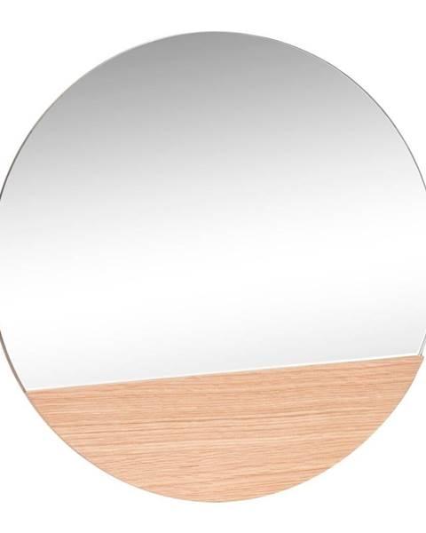 Hübsch Nástenné zrkadlo s detailom z dubového dreva Hübsch Lana, ø 50 cm