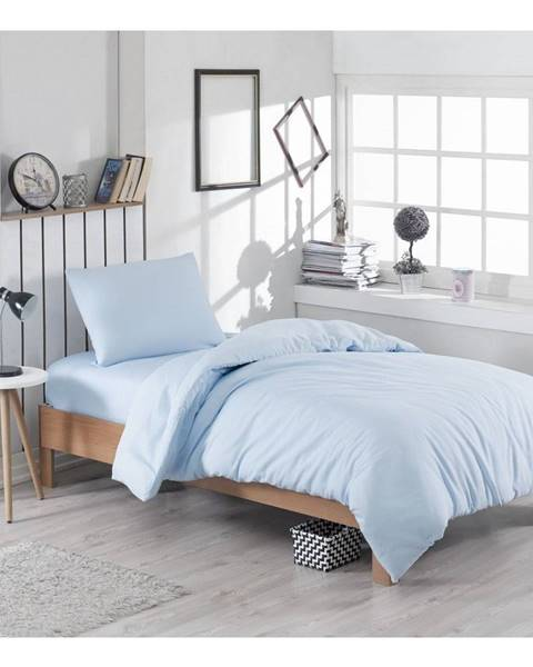 EnLora Home Svetlomodré obliečky s prímesou bavlny na jednolôžko Paint, 140 × 200 cm