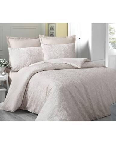 Krémovobiele obliečky z bavlneného saténu na jednolôžko Cream, 140 × 200 cm