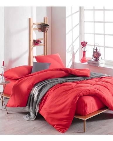 Set červenej obliečky s plachtou na dvojlôžko Basso Rojo, 200 × 220 cm