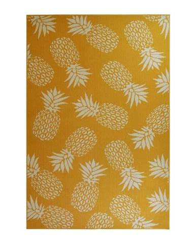 Žltý vonkajší koberec Floorita Ananás, 133 x 190 cm