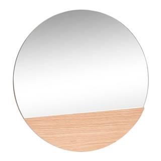 Nástenné zrkadlo s detailom z dubového dreva Hübsch Lana, ø 50 cm