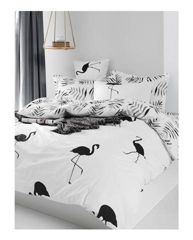 Obliečky na jednolôžko z ranforce bavlny Mijolnir Hope Black, 140 × 200 cm