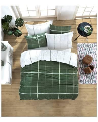 Obliečky na jednolôžko z ranforce bavlny Mijolnir Maya Green, 140 × 200 cm