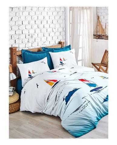 Obliečky s plachtou z ranforce bavlny na dvojlôžko Neta Blue, 200 x 220 cm
