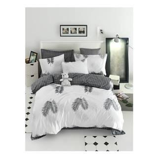 Obliečky na jednolôžko z ranforce bavlny Mijolnir Pipong White & Grey, 140 × 200 cm
