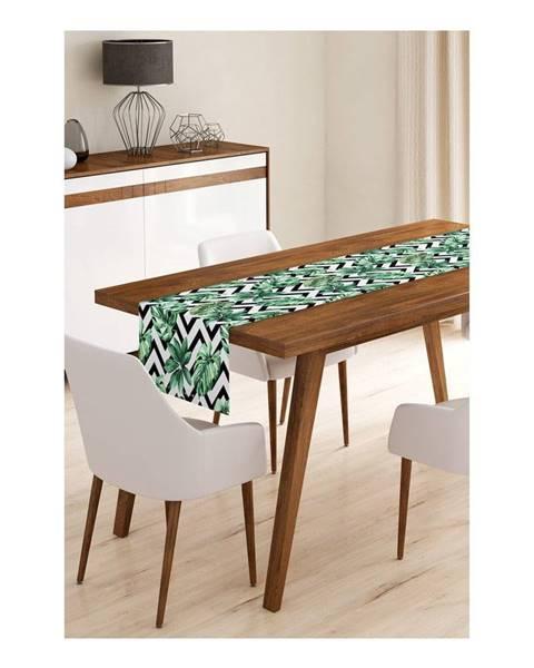 Minimalist Cushion Covers Behúň na stôl z mikrovlákna Minimalist Cushion Covers Jungle Leaves Stripes, 45×145 cm