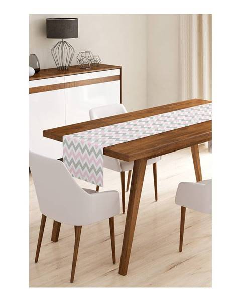 Minimalist Cushion Covers Behúň na stôl z mikrovlákna Minimalist Cushion Covers Pinky Grey Stripes, 45×145 cm