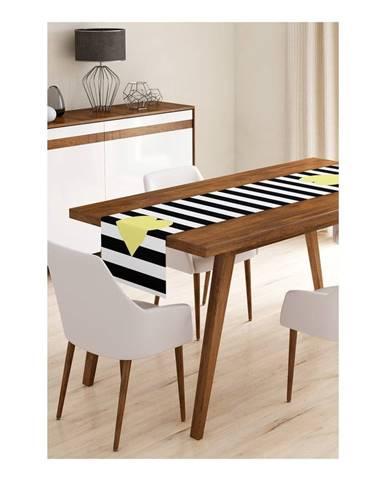Behúň na stôl z mikrovlákna Minimalist Cushion Covers Stripes with Yellow Heart, 45×145 cm