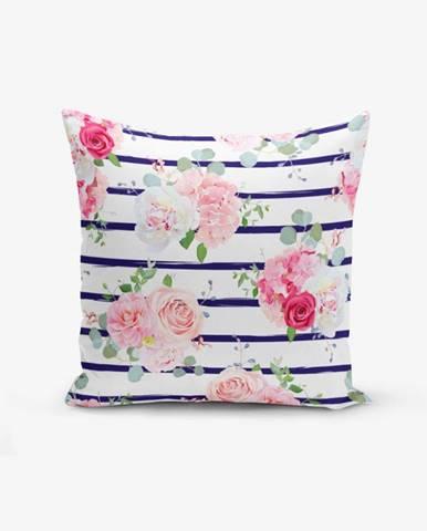 Obliečka na vankúš s prímesou bavlny Minimalist Cushion Covers Blue Linears Kavanice Flower, 45×45 cm