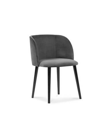 Tmavosivá jedálenská stolička so zamatovým poťahom Windsor & Co Sofas Aurora