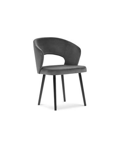 Tmavosivá jedálenská stolička so zamatovým poťahom Windsor & Co Sofas Elpis