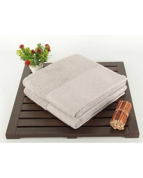 Şaheser Sada 2 svetlosivých bavlnených uterákov Patricia, 50 × 90 cm