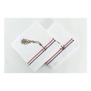 Sada 2 bielych uterákov Marina White, 50×90 cm