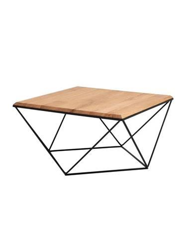 Konferenčný stolík s čiernou podnožou s doskou z masívneho dubu Custom Form Daryl, 80 x 80cm