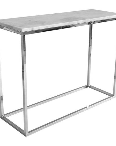 RGE Biely mramorový konzolový stolík s chrómovanou podnožou RGE Accent, šírka 100 cm