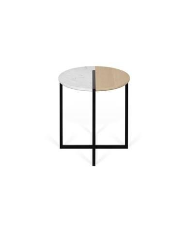 Konferenčný stolík s doskou z dubového dreva a mramoru TemaHome Sonata, ø 50 cm
