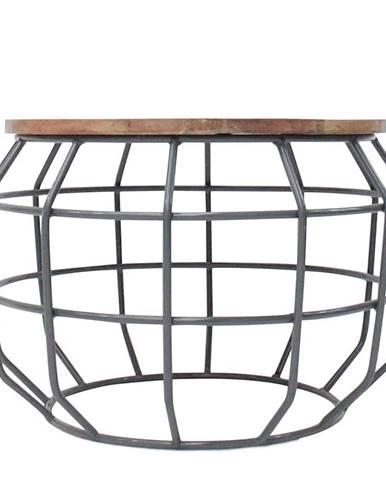 Tmavosivý konferenčný stolík s doskou z mangového dreva LABEL51 Pixel,⌀56 cm