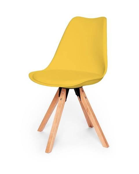 loomi.design Súprava 2 žltých stoličiek s podnožím z bukového dreva loomi.design Eco