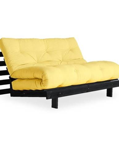 Rozkladacia pohovka so svetložltým poťahom Karup Design Roots Black/Yellow