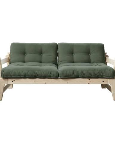 Rozkladacia pohovka so zeleným poťahom Karup Design Step Natural/Olive Green