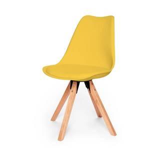 Súprava 2 žltých stoličiek s podnožím z bukového dreva loomi.design Eco