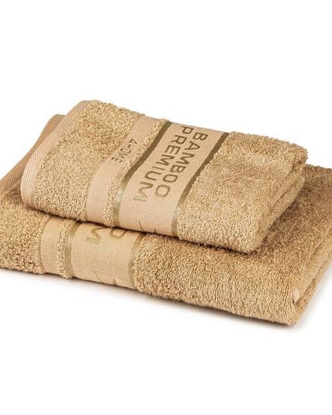 4Home 4Home Sada Bamboo Premium osuška a uterák béžová, 70 x 140 cm, 50 x 100 cm