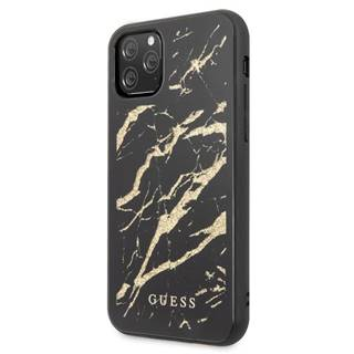 Kryt na mobil Guess Marble Glass na iPhone 11 Pro čierny