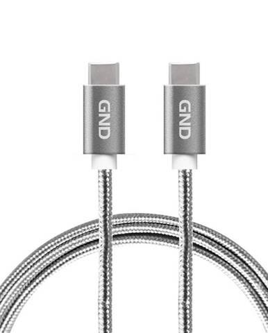 Kábel GND USB-C / USB-C 3.1, PD, 1m, opletený sivý