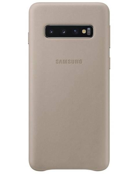 Samsung Kryt na mobil Samsung Leather Cover na Galaxy S10 sivý
