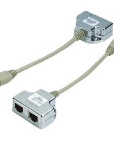 Redukcia Datacom 1xRJ45/1xRJ11+RJ45 STP Cat5e