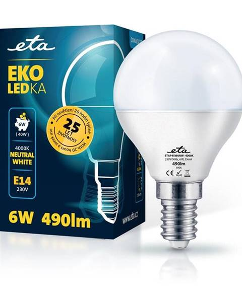 Eta LED žiarovka ETA EKO LEDka mini globe 6W, E14, neutrálna biela