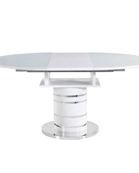 Tempo Kondela Jedálenský stôl rozkladací biela vysoký lesk HG ZAMON