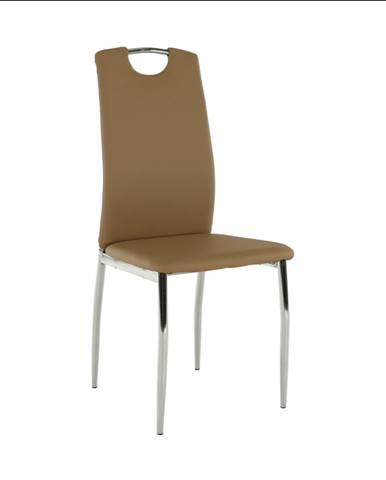 Jedálenská stolička ekokoža béžová/chróm ERVINA