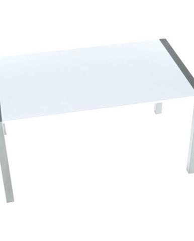 Jedálenský stôl rozkladací MDF/kov biela extra vysoký lesk HG/strieborná DARO