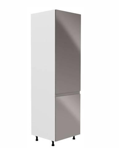 Skrinka na chladničku biela/sivá extra vysoký lesk pravá AURORA D60ZL