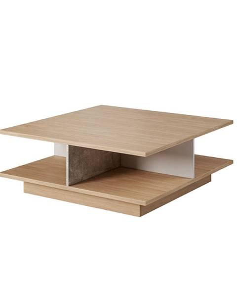 Kondela Konferenčný stolík betón/dub jantár/biely mat LAGUNA