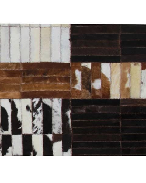 Kondela Luxusný kožený koberec čierna/hnedá/biela patchwork 201x300 KOŽA TYP 4