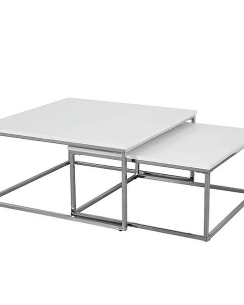 Kondela Set 2 konferenčných stolíkov chróm/biela ENISOL TYP 1