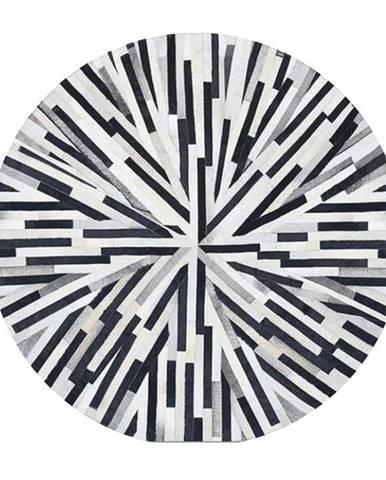 Luxusný kožený koberec čierna/béžová/biela patchwork 150x150 KOŽA TYP 8