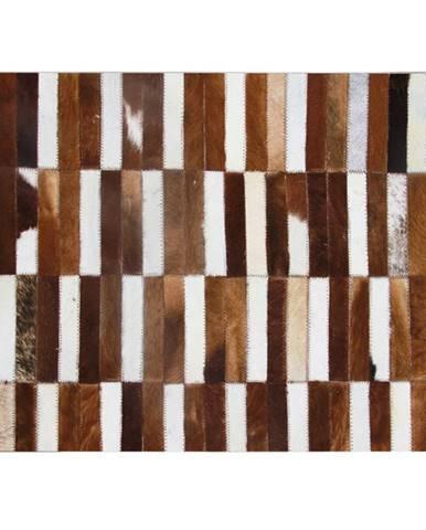 Luxusný kožený koberec hnedá/biela patchwork 201x300 KOŽA TYP 5
