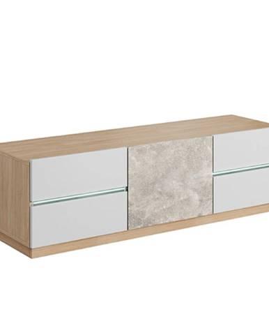 RTV stolík betón/dub jantár/biely mat LAGUNA 135